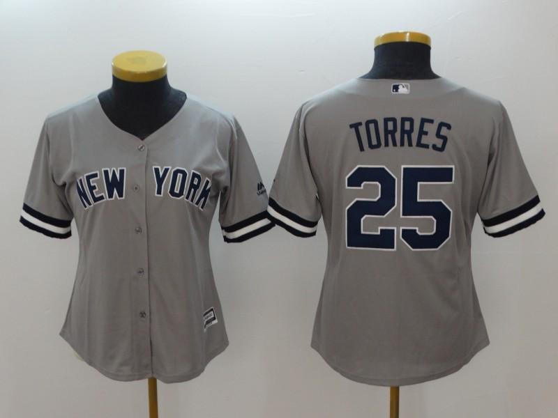 Yankees 25 Gleyber Torres Gray Women Cool Base Jersey