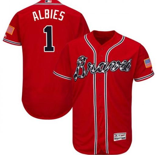 Braves 1 Ozzie Albies Red Flexbase Jersey