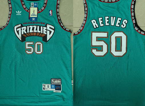 Grizzlies 50 Bryant Reeves Teal Hardwood Classics Jersey