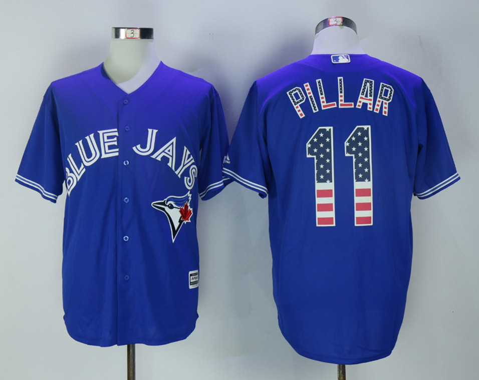 Blue Jays 11 Kevin Pillar Royal USA Flag Cool Base Jersey