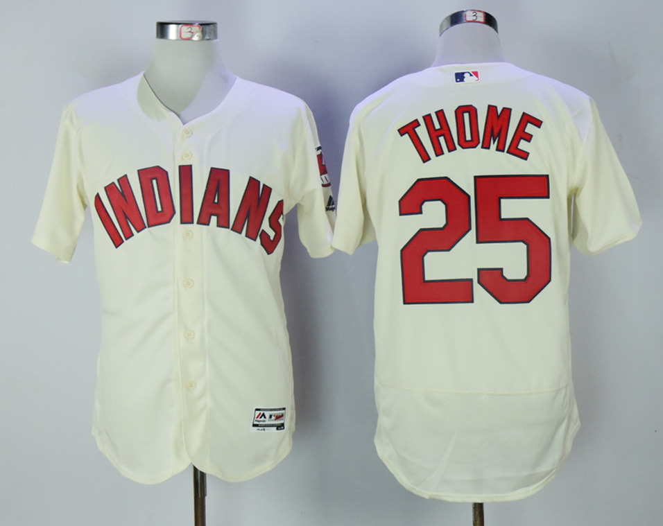 Indians 25 Jim Thome Cream Flexbase Jersey