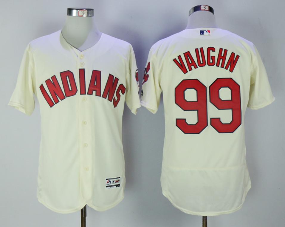 Indians 99 Ricky Vaughn Cream Flexbase Jersey