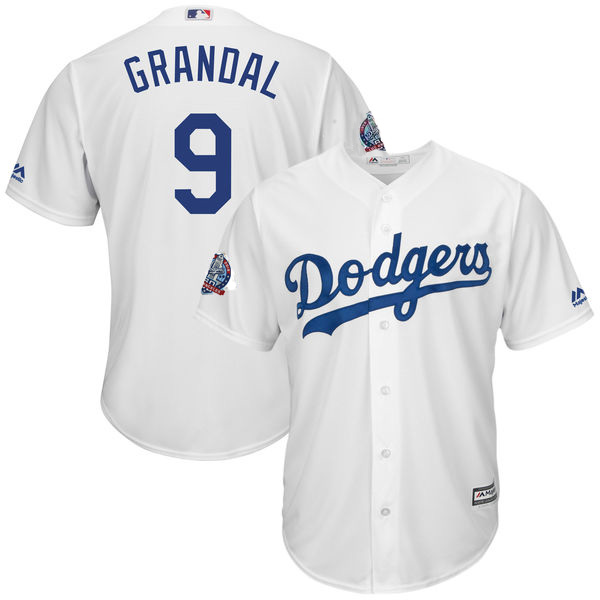 Dodgers 9 Yasmani Grandal White 60th Anniversary patch Cool Base Jersey