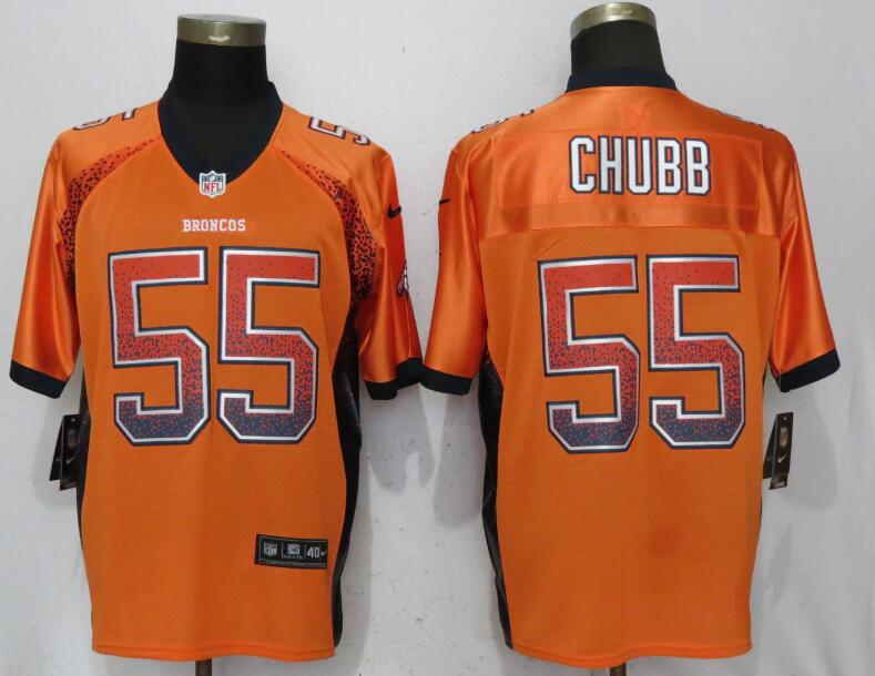 Nike Broncos 55 Bradley Chubb Orange Drift Fashion Elite Jersey