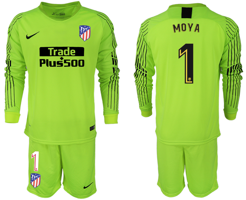 2018-19 Atletico Madrid 1 MOYA Fluorescent Green Goalkeeper Long Sleeve Soccer Jersey