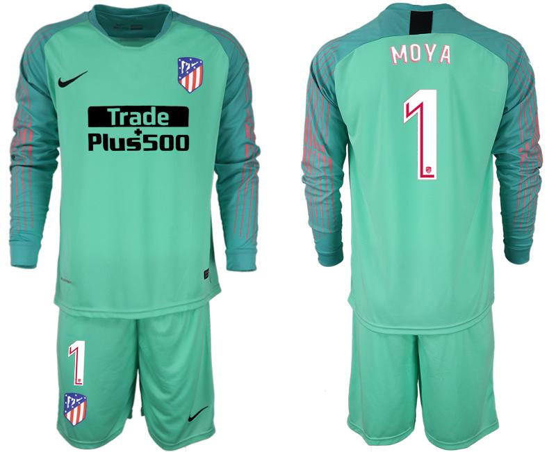 2018-19 Atletico Madrid 1 MOYA Green Goalkeeper Long Sleeve Soccer Jersey