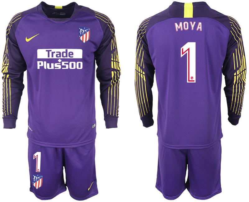 2018-19 Atletico Madrid 1 MOYA Purple Goalkeeper Long Sleeve Soccer Jersey