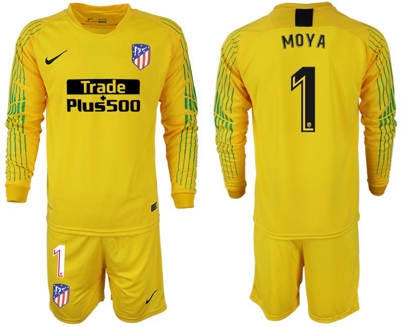 2018-19 Atletico Madrid 1 MOYA Yellow Goalkeeper Long Sleeve Soccer Jersey