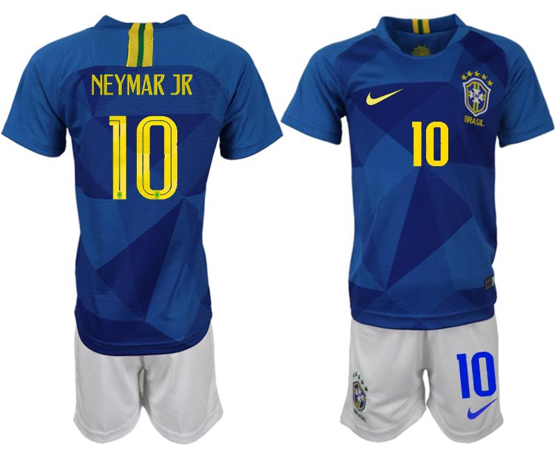 Brazil 10 NEYMAR JR Away 2018 FIFA World Cup Soccer Jersey