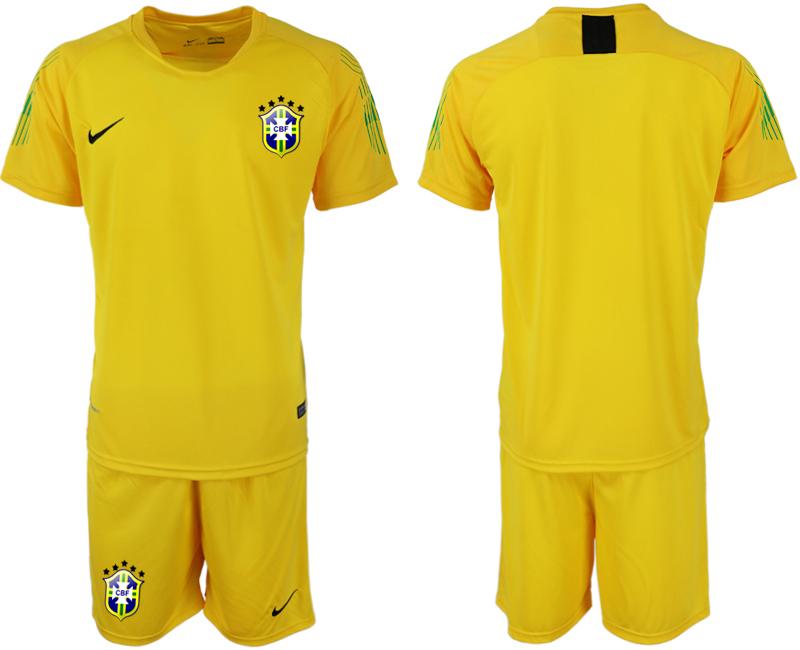 Brazil Yellow 2018 FIFA World Cup Goalkeeper Soccer Jersey