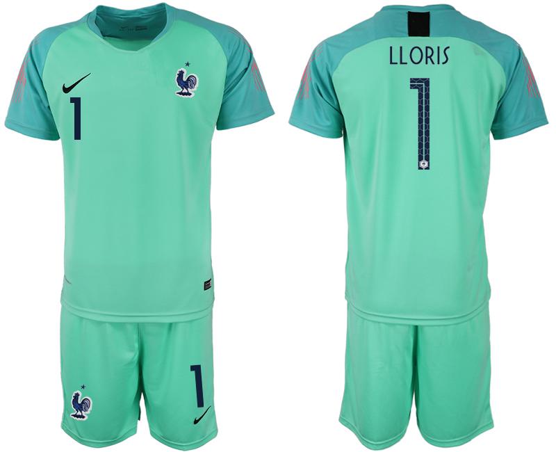 France 1 LLORIS Green 2018 FIFA World Cup Goalkeeper Soccer Jersey