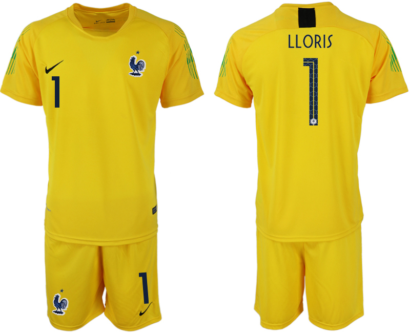France 1 LLORIS Yellow 2018 FIFA World Cup Goalkeeper Soccer Jersey
