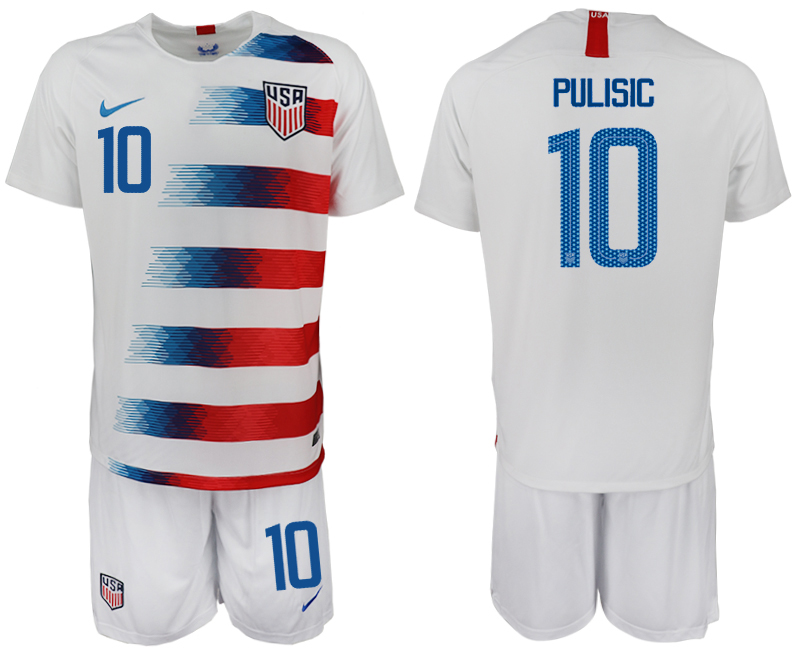 2018-19 USA 10 PULISIC Home Soccer Jersey