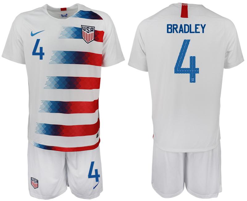 2018-19 USA 4 BRADLEY Home Soccer Jersey