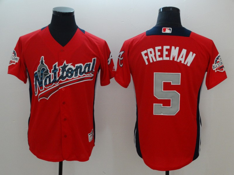 National League 5 Freddie Freeman Red 2018 MLB All-Star Game Home Run Derby Jersey