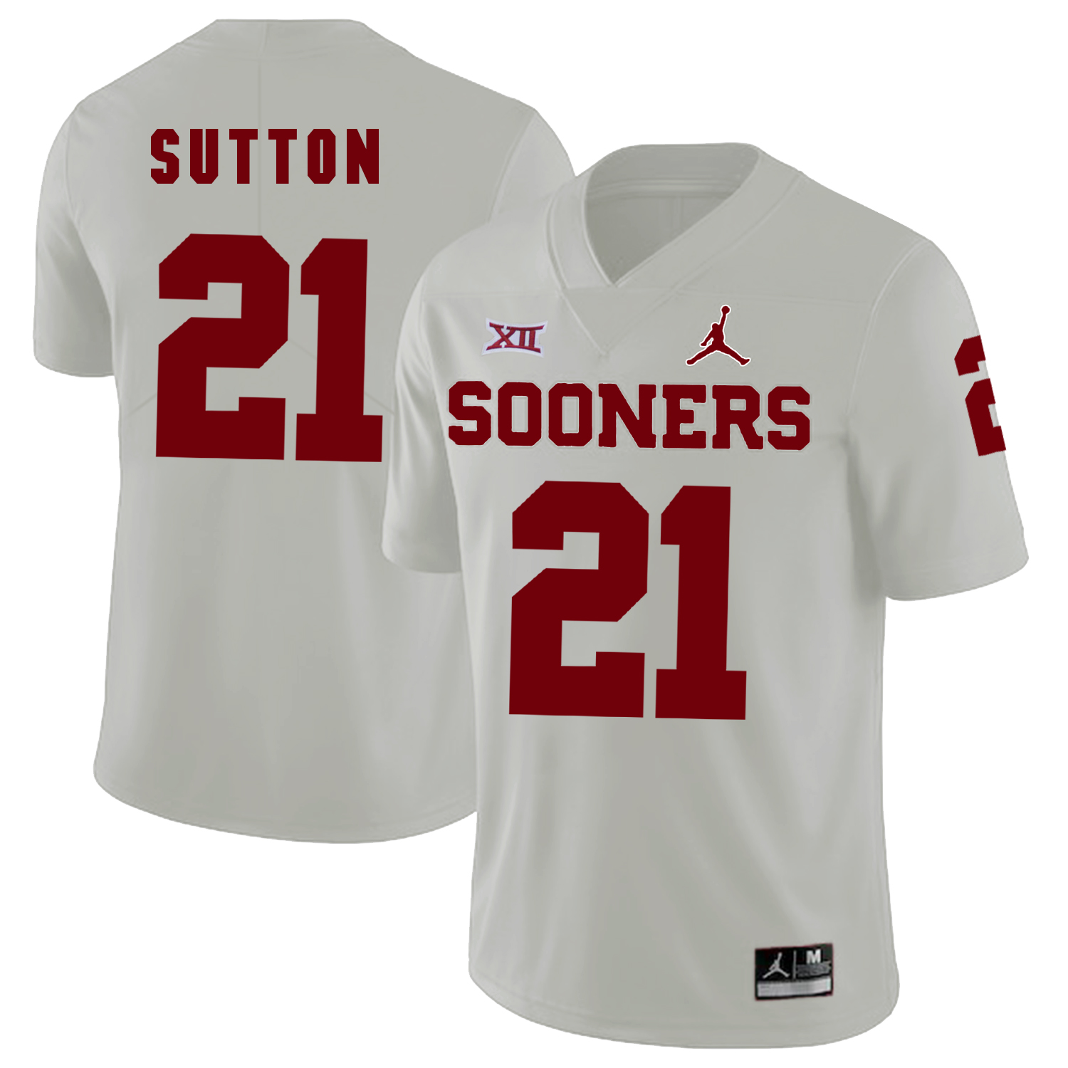 Oklahoma Sooners 21 Marcelias Sutton White College Football Jersey