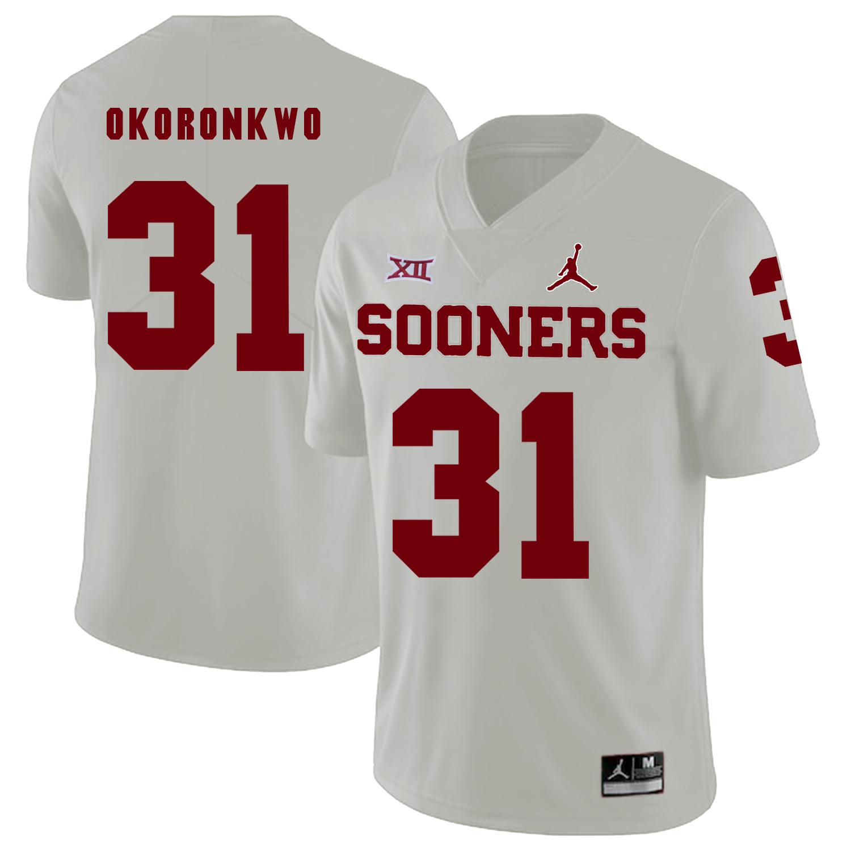 Oklahoma Sooners 31 Obo Okoronkwo White College Football Jersey