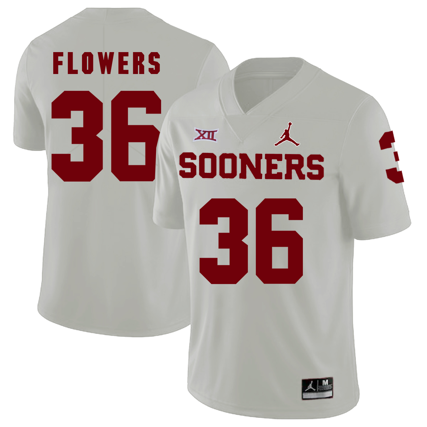 Oklahoma Sooners 36 Dimitri Flowers White College Football Jersey