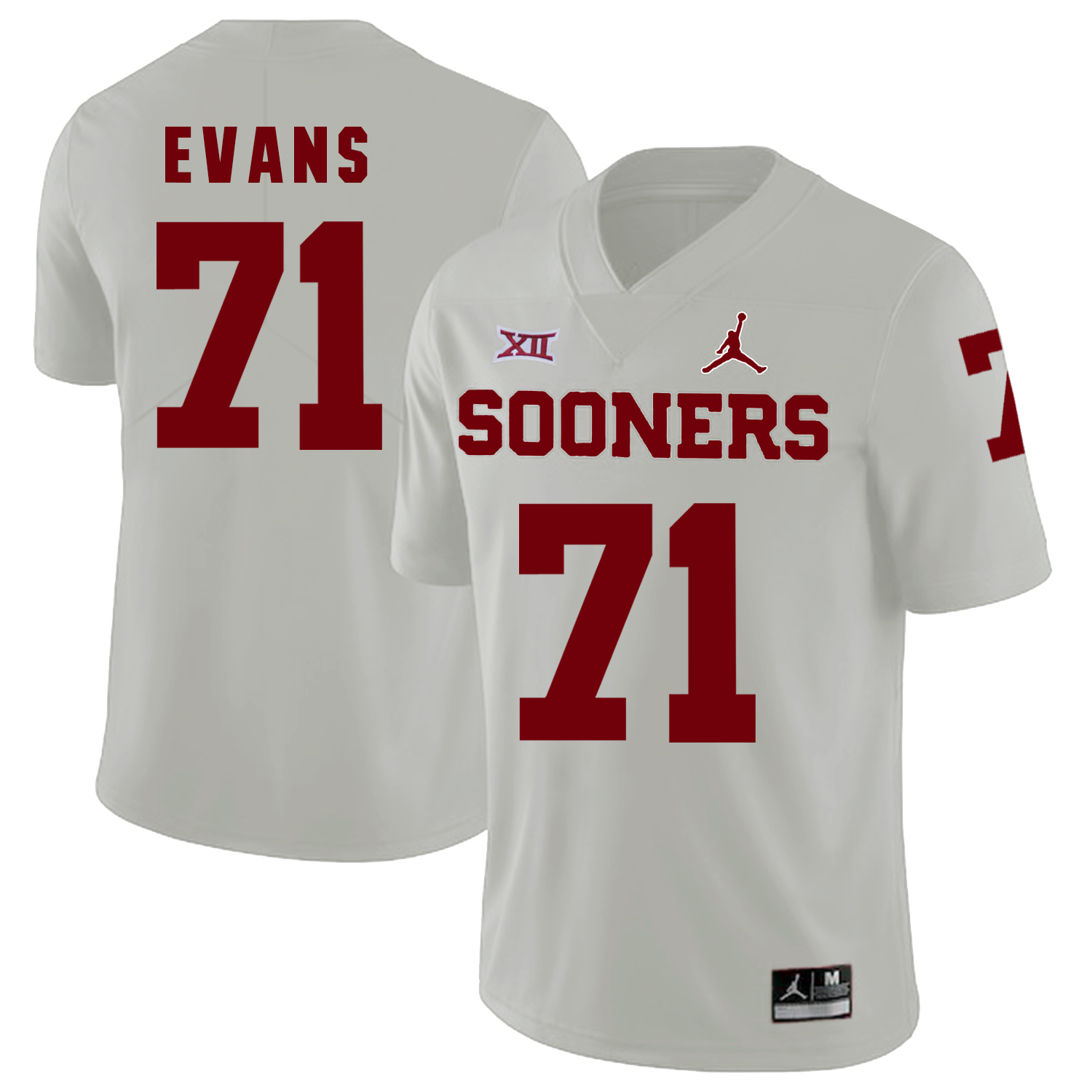 Oklahoma Sooners 71 Bobby Evans White College Football Jersey