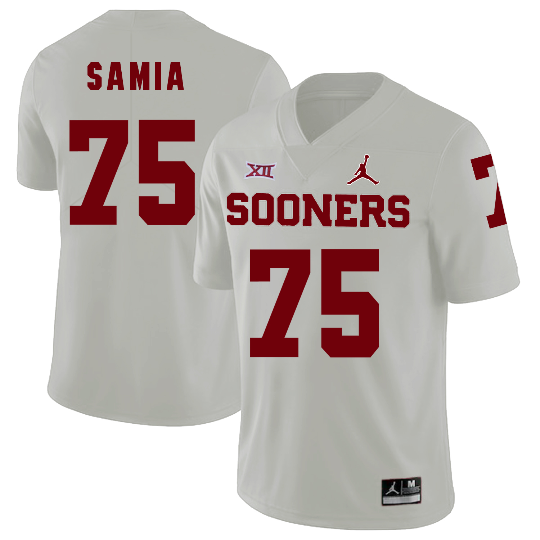 Oklahoma Sooners 75 Dru Samia White College Football Jersey