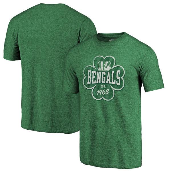 Men's Cincinnati Bengals NFL Pro Line by Fanatics Branded Kelly Green Emerald Isle Tri Blend T-Shirt