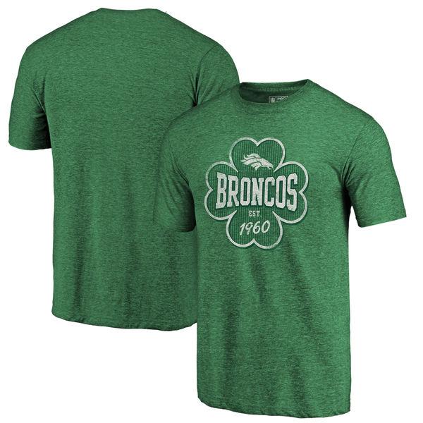 Men's Denver Broncos NFL Pro Line by Fanatics Branded Kelly Green Emerald Isle Tri Blend T-Shirt