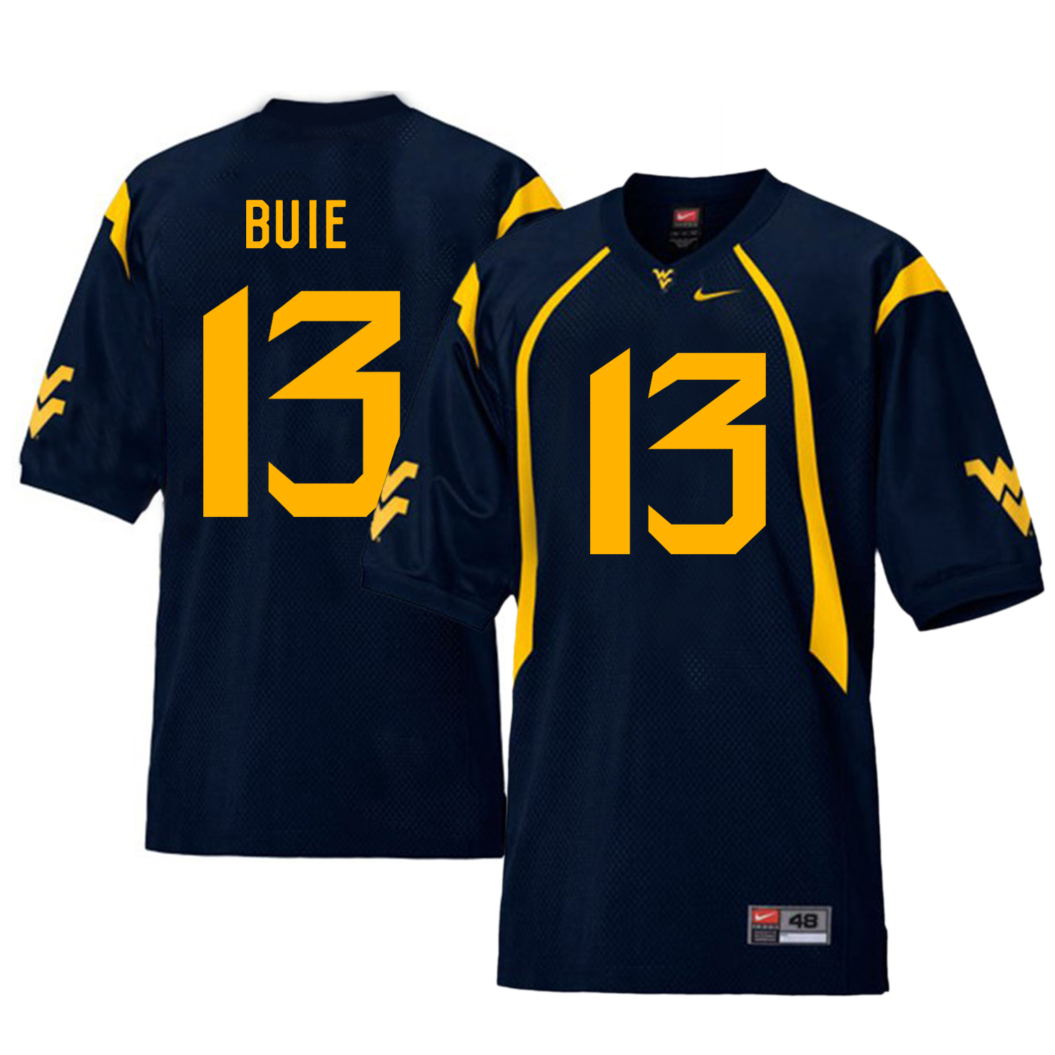 West Virginia Mountaineers 13 Andrew Buie Navy College Football Jersey