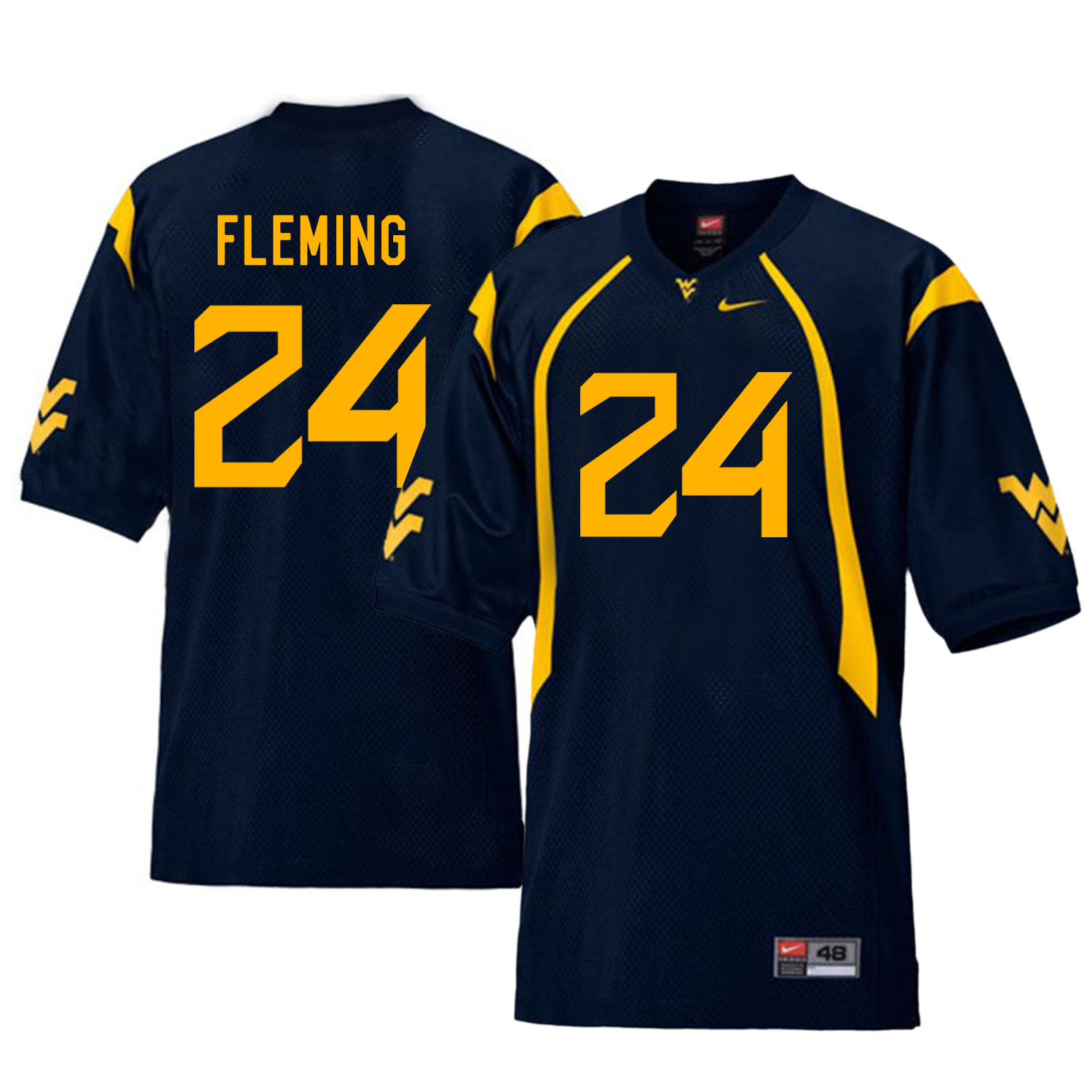 West Virginia Mountaineers 24 Maurice Fleming Navy College Football Jersey