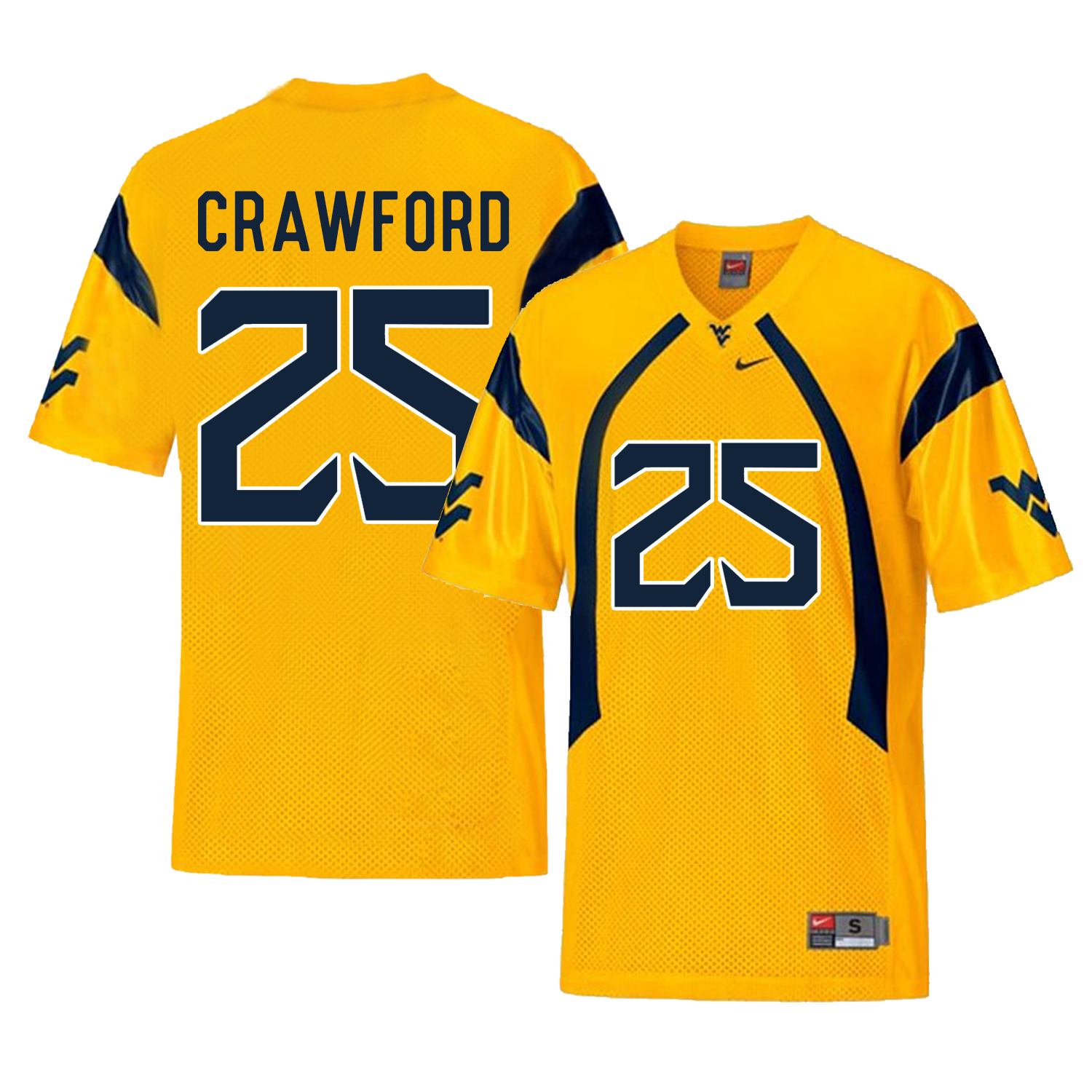 West Virginia Mountaineers 25 Justin Crawford Gold College Football Jersey
