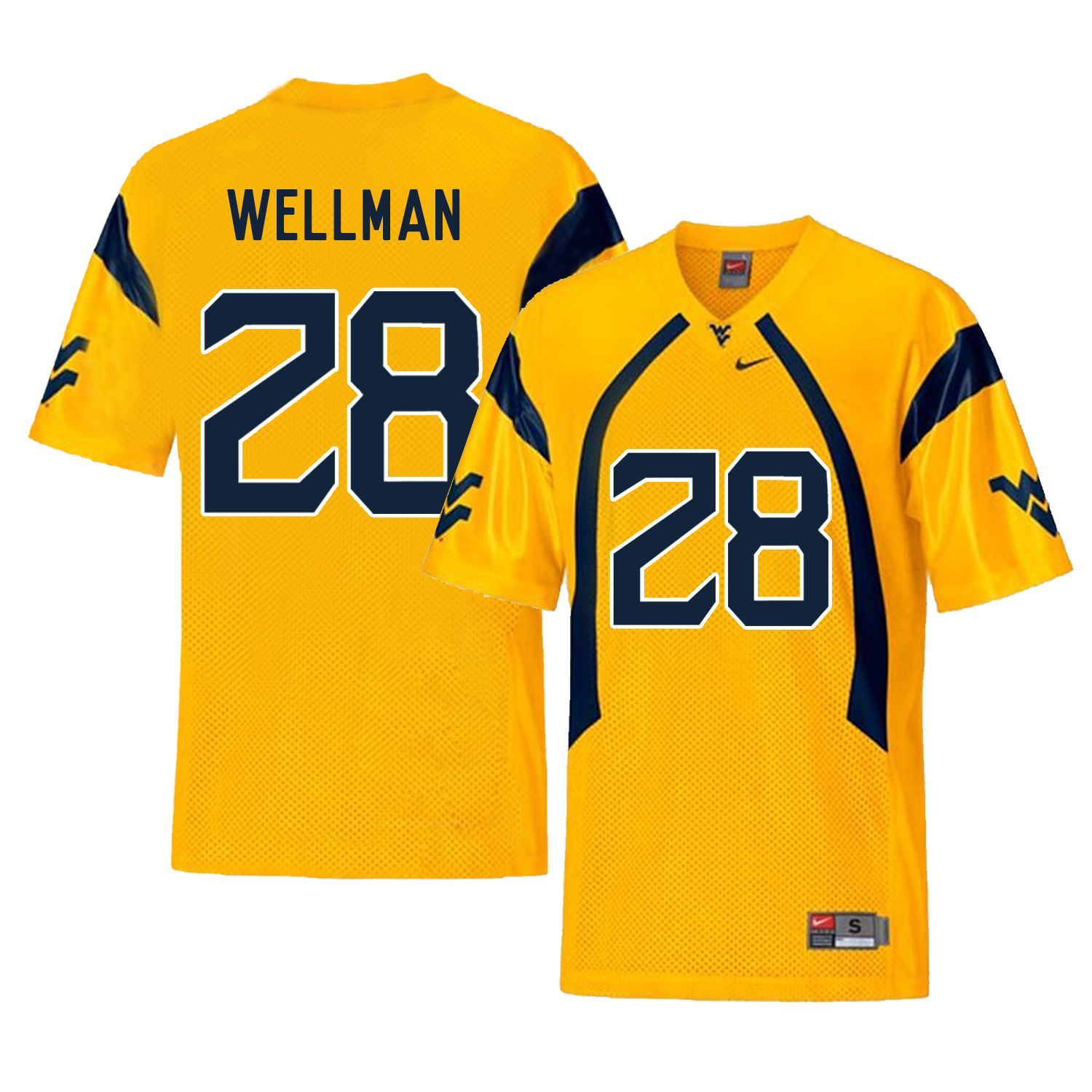 West Virginia Mountaineers 28 Elijah Wellman Gold College Football Jersey