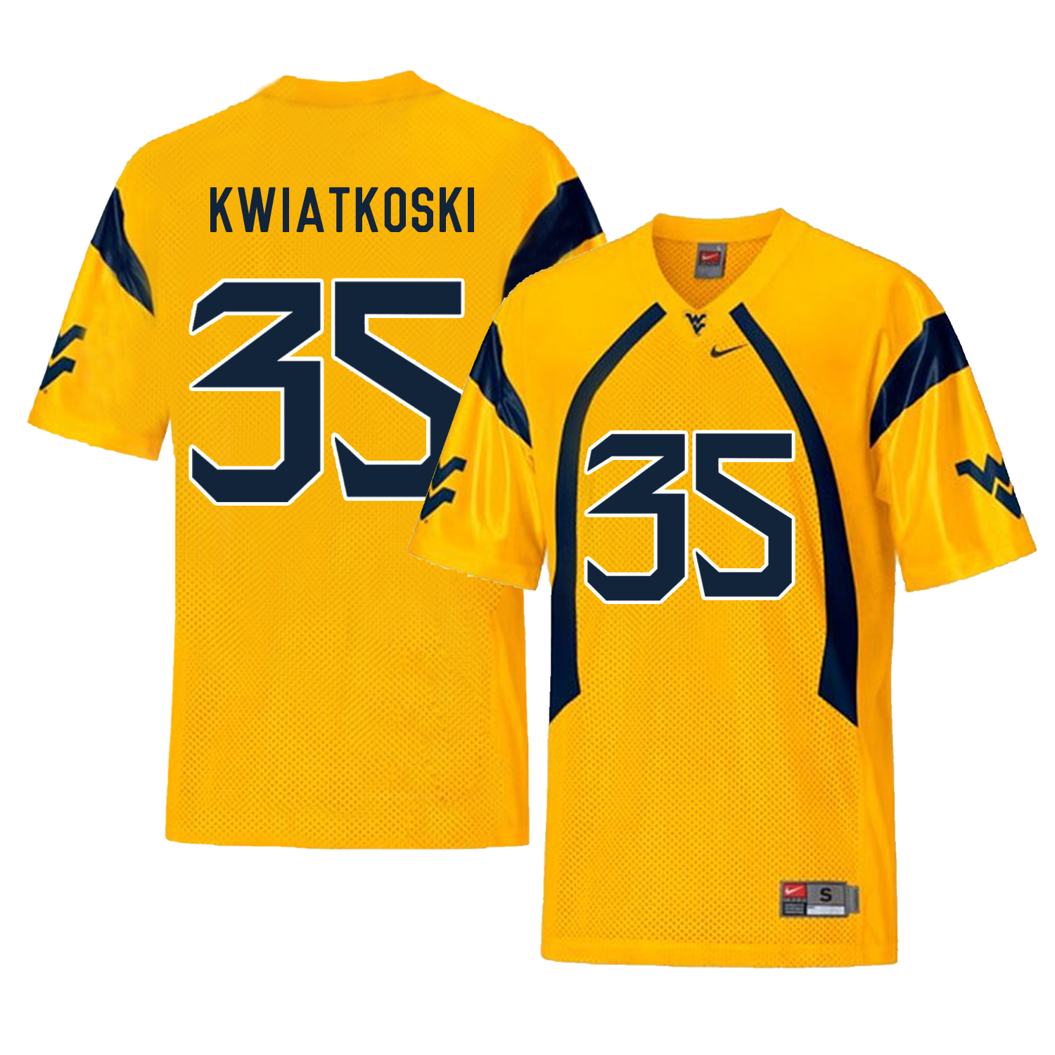 West Virginia Mountaineers 35 Nick Kwiatkoski Gold College Football Jersey