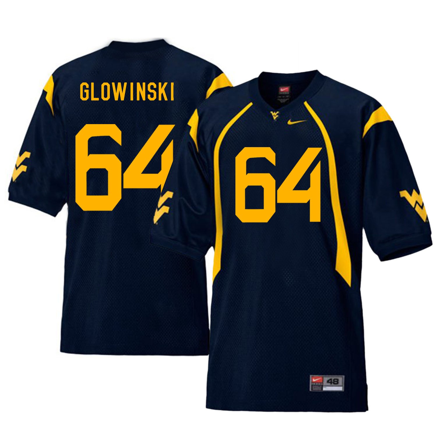 West Virginia Mountaineers 64 Mark Glowinski Navy College Football Jersey