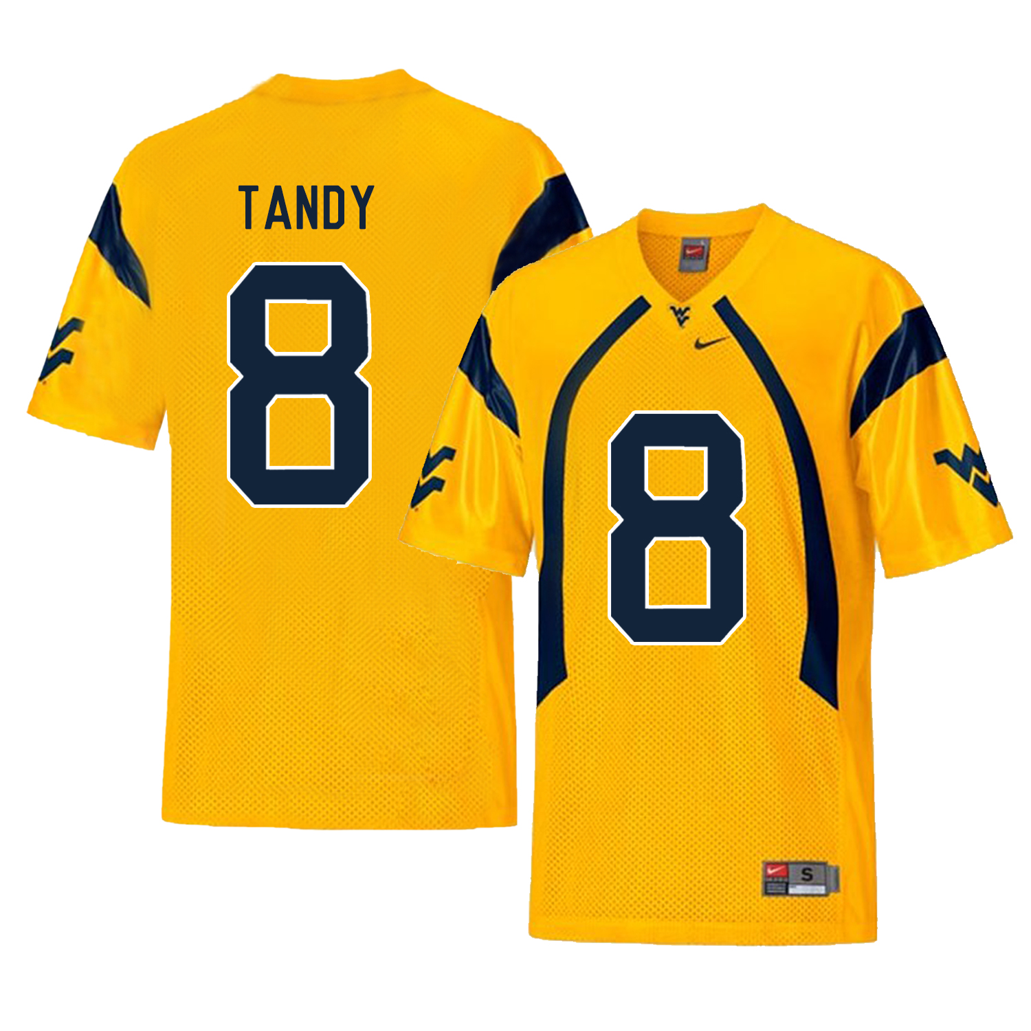 West Virginia Mountaineers 8 Keith Tandy Gold College Football Jersey
