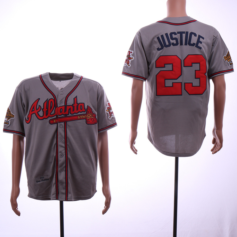 Braves 23 David Justice Gray 1995 Throwback Jersey