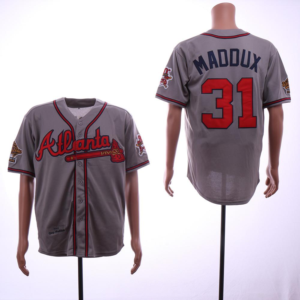 Braves 31 Greg Maddux Gray 1995 Throwback Jersey