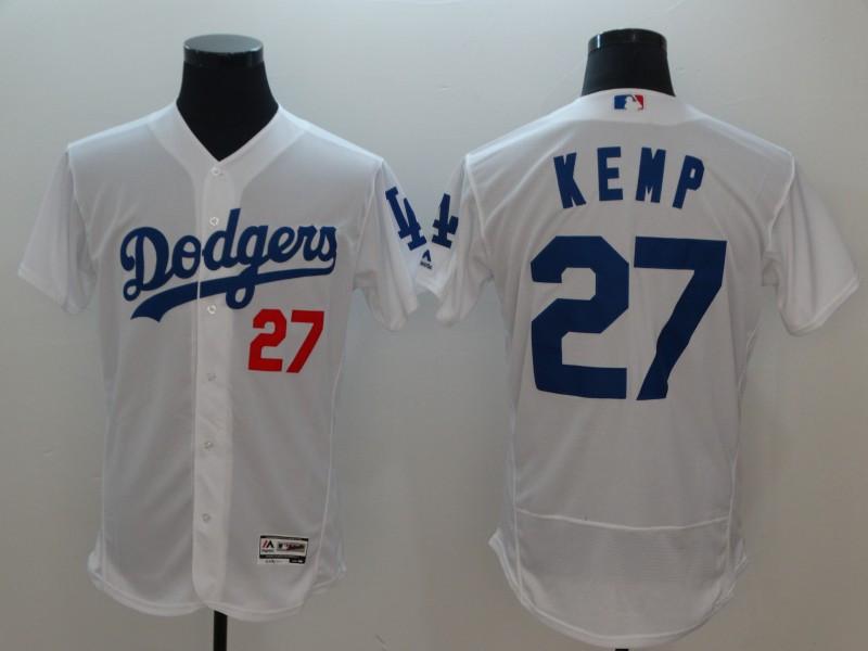 Dodgers 27 Matt Kemp White Flexbase Jersey