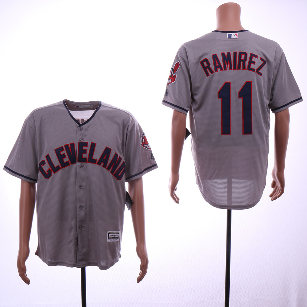 Indians 11 Jose Ramirez Gray Cool Base Jersey