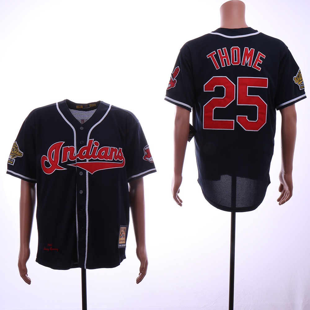 Indians 25 Jim Thome Navy 1995 World Series Cooperstown Collection Jersey