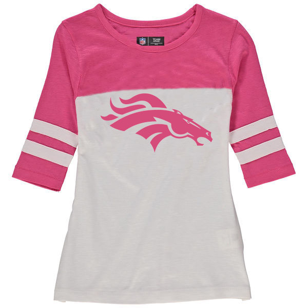 Denver Broncos 5th & Ocean by New Era Girls Youth Jersey 34 Sleeve T-Shirt White/Pink