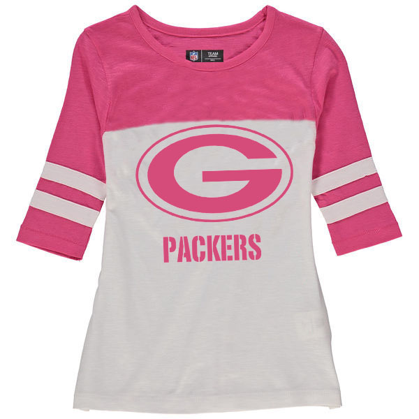 Green Bay Packers 5th & Ocean by New Era Girls Youth Jersey 34 Sleeve T-Shirt White/Pink