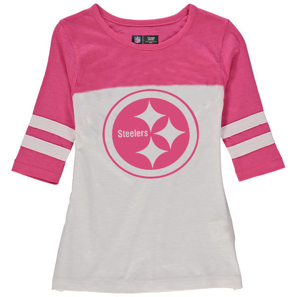 Pittsburgh Steelers 5th & Ocean by New Era Girls Youth Jersey 34 Sleeve T-Shirt White/Pink