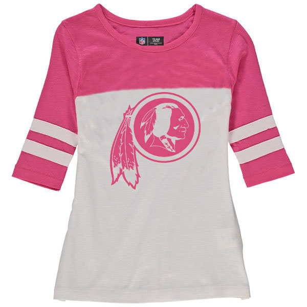 Washington Redskins 5th & Ocean by New Era Girls Youth Jersey 34 Sleeve T-Shirt White/Pink