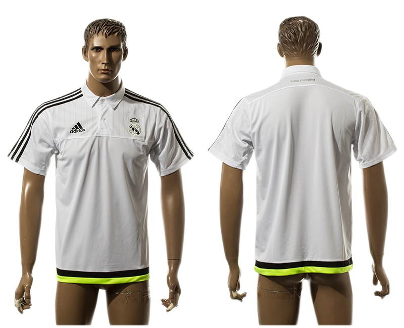 2015-16 Real Madrid White Soccer Polo Shirt