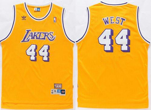 Lakers 44 Jerry West Gold Hardwood Classics Jersey