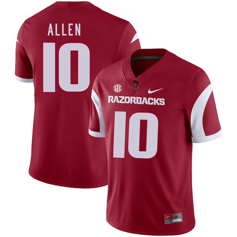 Arkansas Razorbacks 10 Brandon Allen Red College Football Jersey