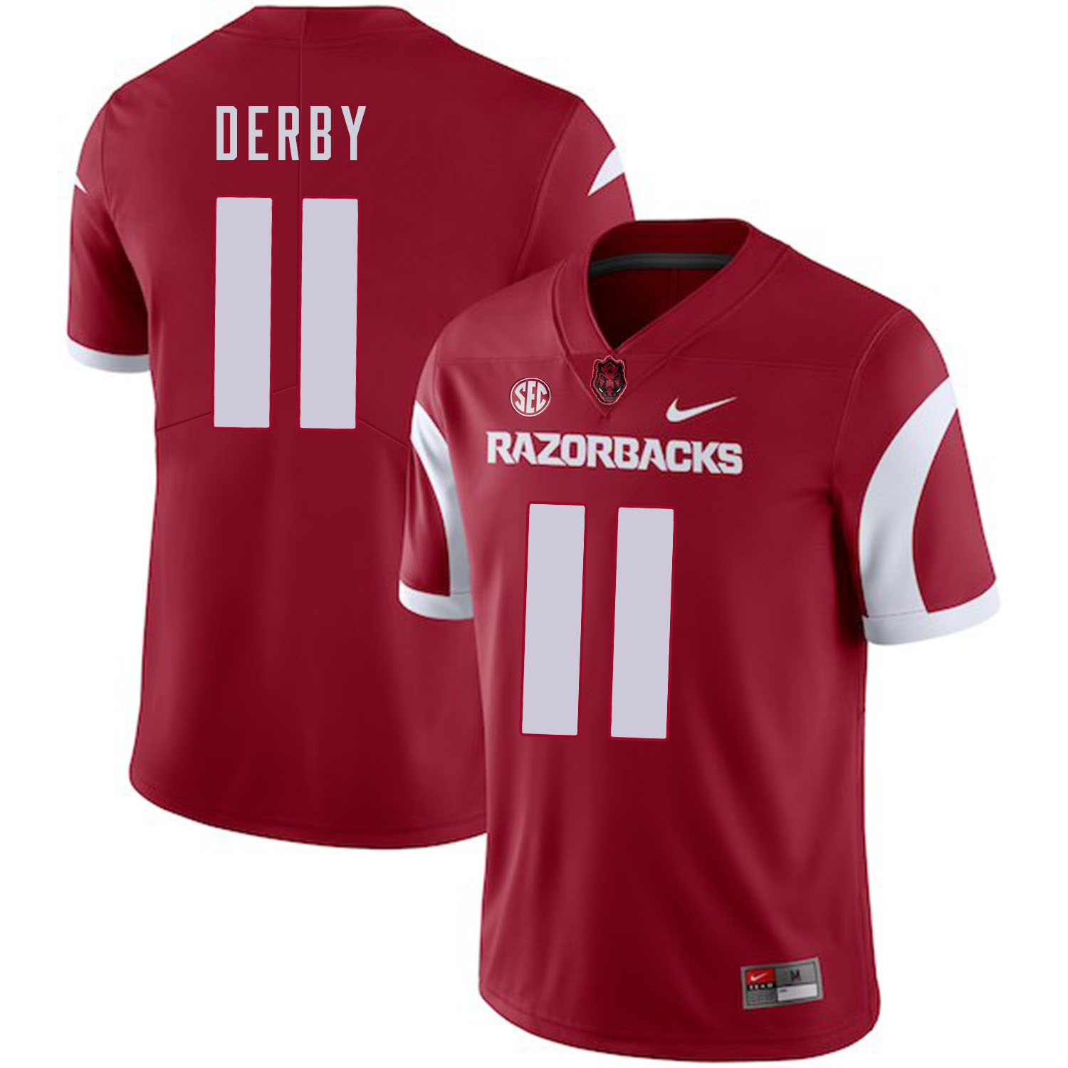 Arkansas Razorbacks 11 A.J. Derby Red College Football Jersey