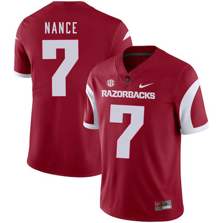 Arkansas Razorbacks 7 Jonathan Nance Red College Football Jersey