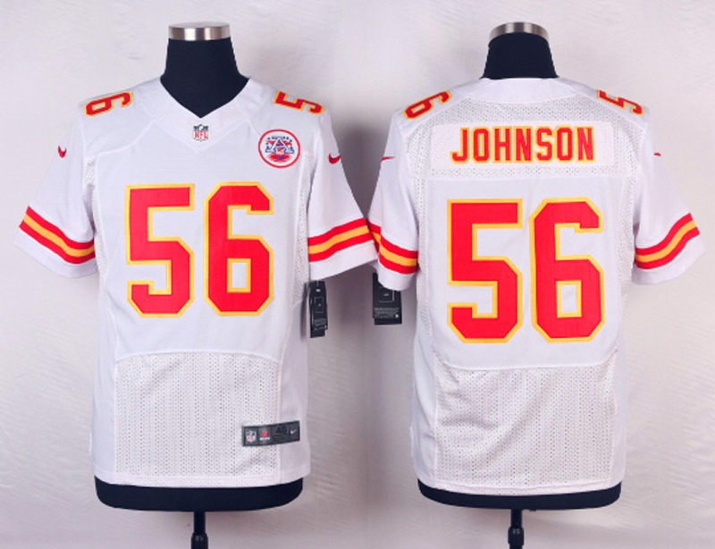 Nike Chiefs 56 Derrick Johnson White Elite Jersey