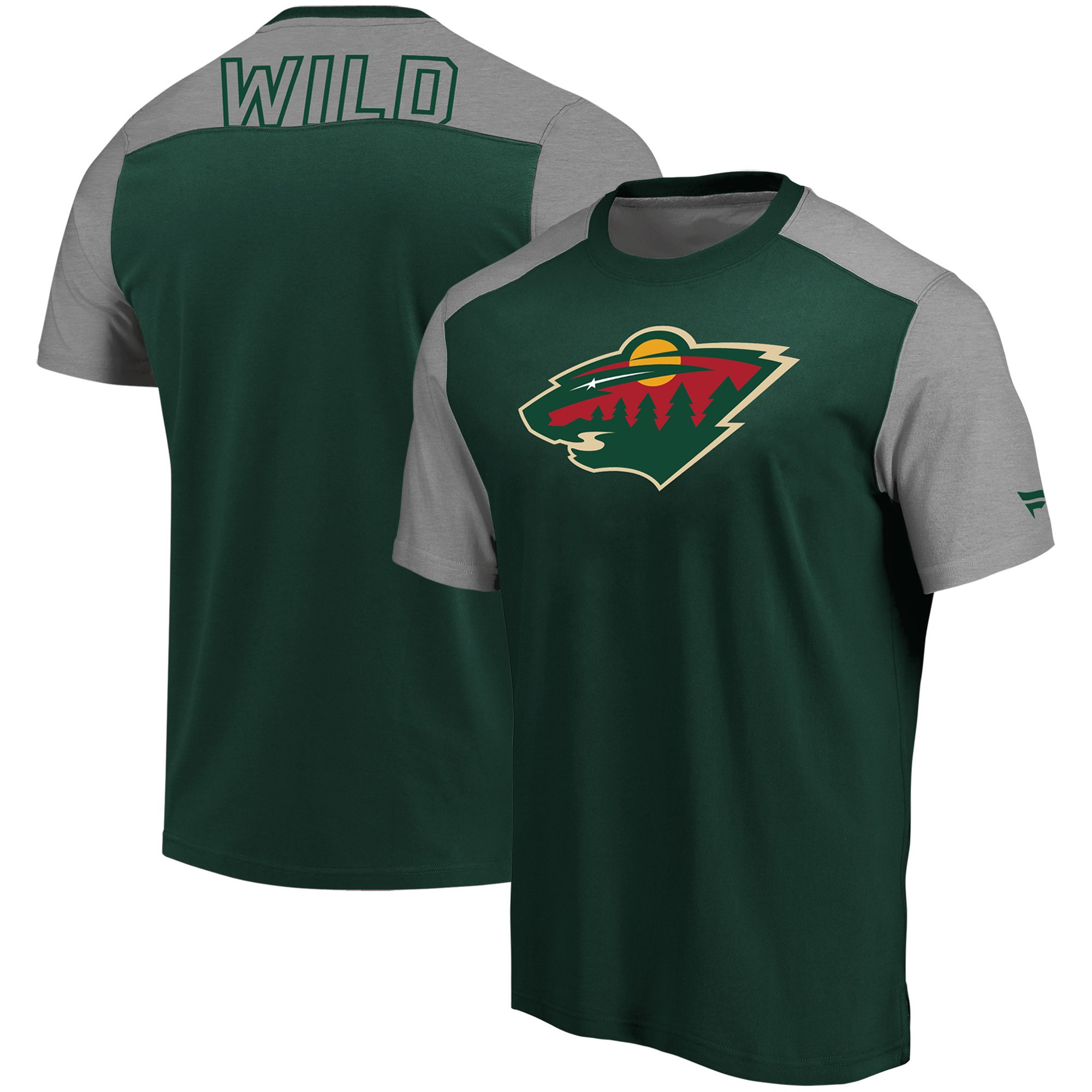 Minnesota Wild Fanatics Branded Iconic Blocked T-Shirt GreenHeathered Gray