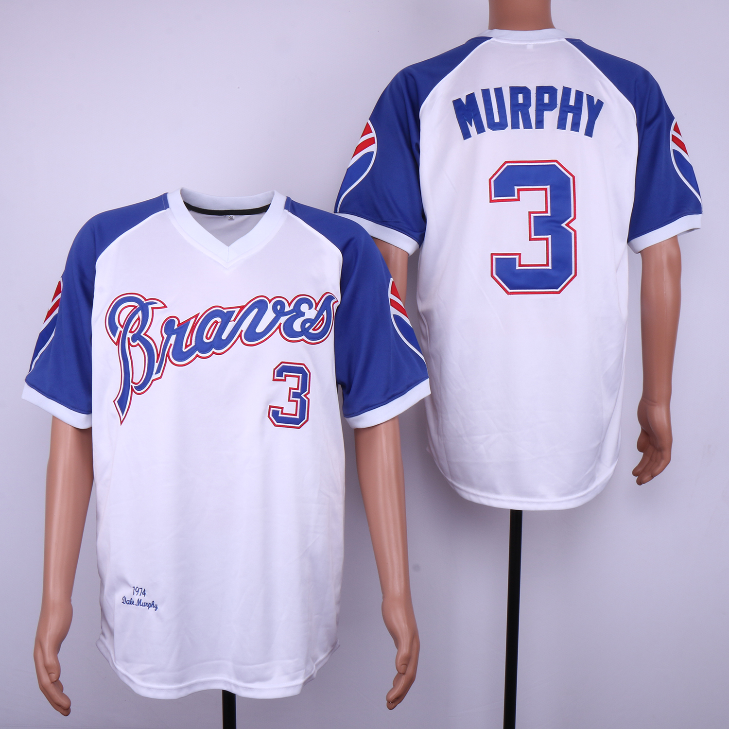 Braves 3 Dale Murphy White 1974 Throwback Jersey